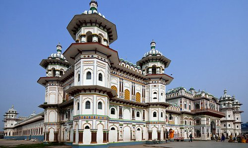 The beautiful Janaki Temple of Janakpur. It is often considered the most important model of Koiri architecture in Nepal.