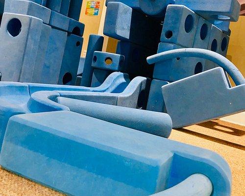 Large blue blocks exhibit; very interactive.