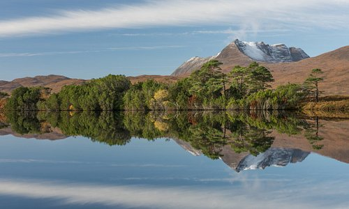 Beautiful reflections and mountain scenery in Assynt in the north west Highlands