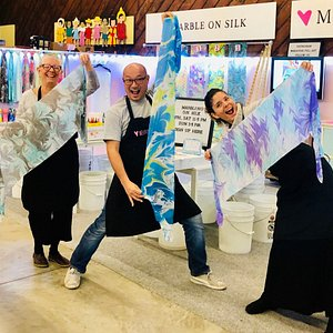 Showing off their finished marbled silks!