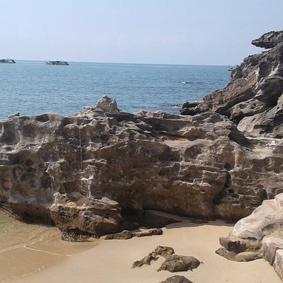 Rock formation at end of Dinh Cau Beach by the Temple