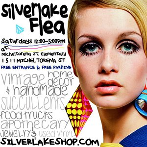Silverlake Flea Market (held Every Saturday from 12-5)  is located on the playground of the Micheltorena Street Elementary School in Silverlake, CA 90026. The Free Entrance is located at 1511 Micheltorena LA CA 90026. Some of LA's best independent vendors of Handmade, Vintage, Home Furnishings, Home Decor, Crafts, Art, Antiques and Collectibles are on site selling their merchandise Every Saturday from 12:00 Noon - 5:00 pm.  Free Entrance and Free Parking.