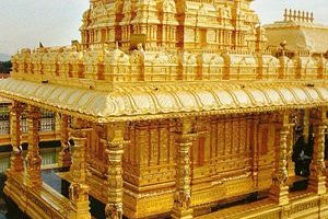 The golden temple complex inside the Sripuram spiritual park is situated at the foot of a small range of green hills at Thirumalaikodi village, 8 km from Vellore in Tamil Nadu, India.