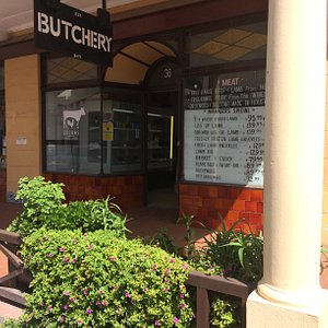 A view from the street onto Edsons Butchery
