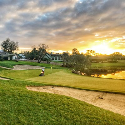 The PGA Tour is spending this weekend at Arnold Palmer's Bay Hill Club & Lodge for the Arnold Palmer Invitational. Golf Advisor Senior Writer Tim Gavrich caught this sunrise shot last year as preparations for the tournament were finishing up.