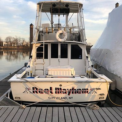 35' Bertram located in City Island, NY  just minutes from NYC 1-6 passengers  Fishing Charters  Shuttles Dock & Dine  Sightseeing Heat/AC Couch TV Restroom Bunks All the comforts of home aboard The Reel Mayhem and just minutes away from NYC.  Call us today for more information at (917)773-7156