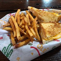 The grilled cheese was gooey and the fries were nice and crispy, it was the perfect portion for lunch.