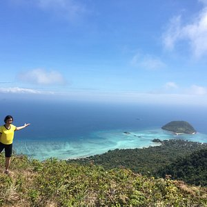 At the summit....Balay Kogon resort is the stretch of white sand on the right.