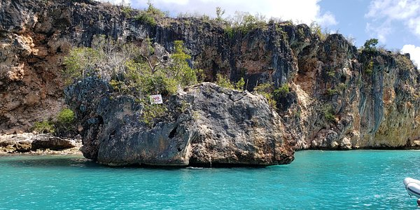 """We made a stop at """"The Rock"""", for anyone brave enough to jump into the water from the top!"""