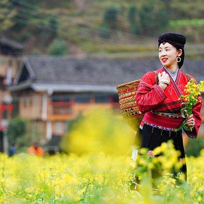 Minderheit Yao in Longji Reisterrassen