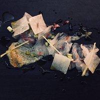 Corvina sashimi Y Emulsion de algas