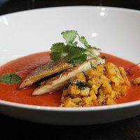 Idukki seabass : pan seared seabass fillet, tossed baby spinach & potatoes, smoked tamarind sauce