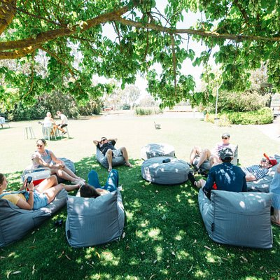 Enjoy a glass of wine on the lawn.