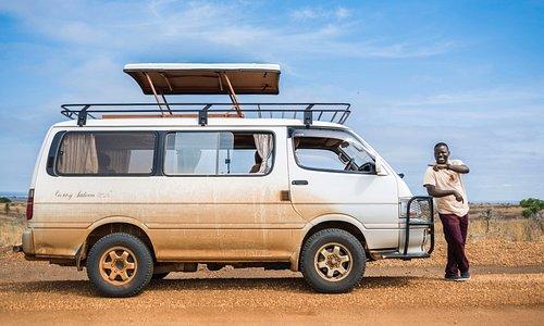 Tour operator Mukasa Blakie one of the 4x4 Safari Vans