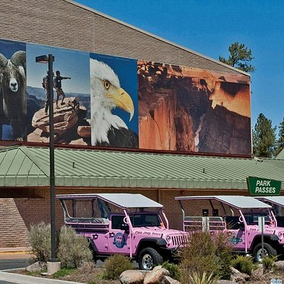 The Grand Canyon Visitor Center, located in Tusayan, Arizona. Home to the IMAX Theatre, Pink Jeep Tours and Pizza Hut Express.