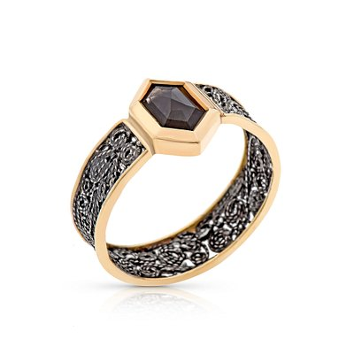 18k gold, sterling silver and grey diamond