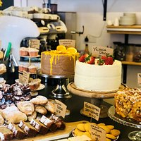 A display of our scrumdiddlyumptious cakes.