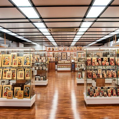 View of our exhibition showing our variety of byzantine icons!