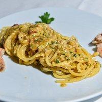 Spaghetto con canocchie di mare