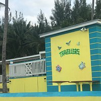 The view from the beach. New colour building, New sign by Bahamian Artist Feyer.