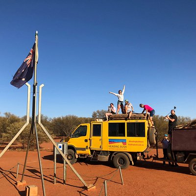 Pulling into Lambert Centre, the geographical centre of Australia, a long way to the beach!