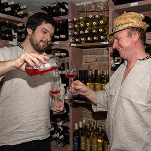 Josef, the winemaker a Jaromir, his son-in-law and apprentice in winemaking, will welcome you in the cellar