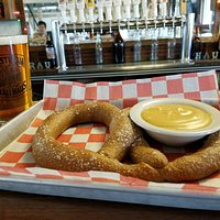 Our famous Back Road Stout haus made pretzel with a Millstream Beer!