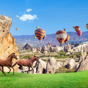 Ever thought about getting to know a city from the view above?  Hot-air Ballooning is the most popular way of seeing the landscape. That's also what makes unique Cappadocia so famous.   Board the basket and feel the balloon lift as the distance between you and the Earth increases.  Soon, you'll have a bird's-eye view of the incredible lunar landscapes, stone-cut churches and volcanic spires that make up Cappadocia. There're numerous sedimentary rocks forming in lakes and streams, with ignimbrite