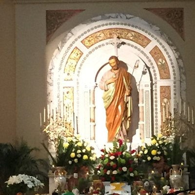 The St. Joseph Altar on March 19, 2019.  It was filled with food and flowers.