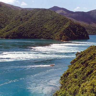 Turbulent waters of French Pass, Marlborough Sounds
