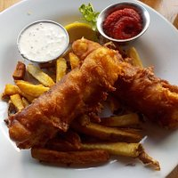 Fish 'n Chips. The batter was crispy and not heavy. The fish was flaky and delicious.