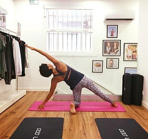 Yoga classes at the Lorna Jane Yoga clothing boutique, Nice French Riviera