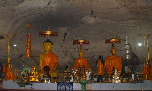 Buddha images in the cave interior
