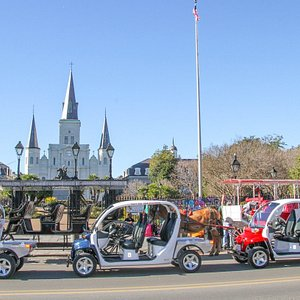 See New Orleans through these open air electric golf carts!
