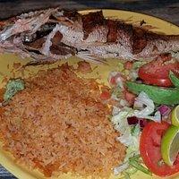 Pescado Dorado (whole red snapper) with rice and salad