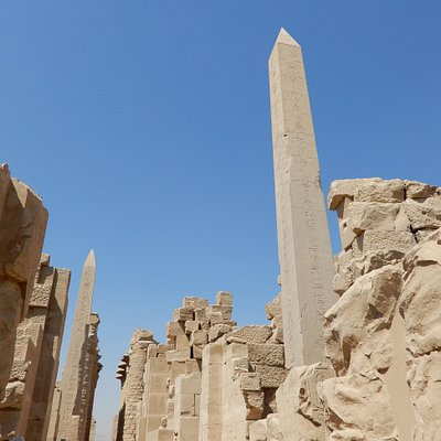 Both obelisks. Queen Hapshetsut is on the right walking back to the entrance