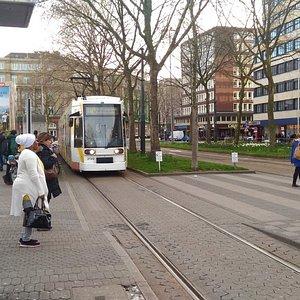 駅前からは各地へ向かう市電・トラムとバスが出発します。