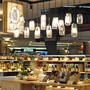 Closer look of our store.  The lights are made of mason jars, Fixtures are made of recycle pine wood.
