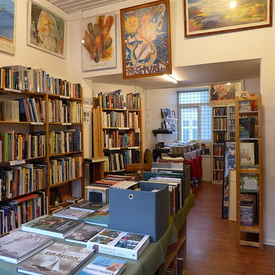 Books & Music interior, March 2019. The music department, - LPs, CDs and books about music and musicians - is located at the rear.