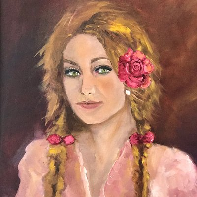 """Young Girl with braids and a rose in her hair. 16""""w x 20"""" h oil on canvas"""