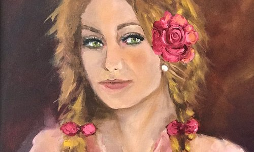 "Young Girl with braids and a rose in her hair. 16""w x 20"" h oil on canvas"