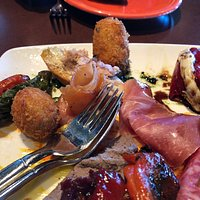 Croquettes, smoked salmon, air dried ham, kabob of croquette, pepper, and sausage, roasted peppers and more...