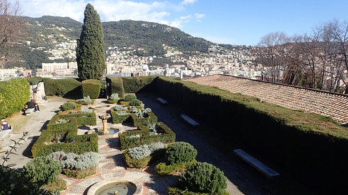 Gardens and view.