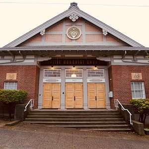 The front entrance of the Seattle Betsuin Buddhist Temple. All visitors are welcome to come and learn about the rich history of our temple, our sect of Buddhism called Jodo Shinshu or anything else one might be curious about. The temple is open for visitors every Sunday morning for service at 10:00am. Feel free to call or email for more information