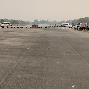 Running track on old runway near to central plaza in Chiang Rai - locals and tourists welcome to exercise together from 4:30-6:30pm