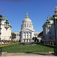 Spring morning view of SF City hall