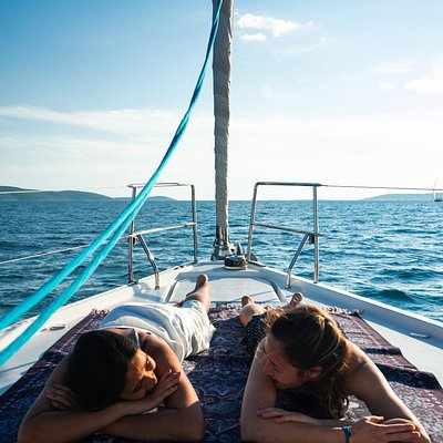 Relaxing on the bow on passage to Šolta. June 2018