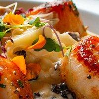 Sea Scallops with Cauliflower Risotto, Currants, Oyster Mushrooms, Vanilla Bean & Saffron Cream