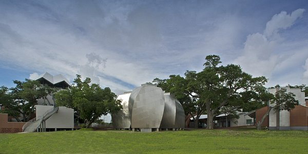 View from the south side of the museum as visitors pass from Beach Blvd (HWY 90).
