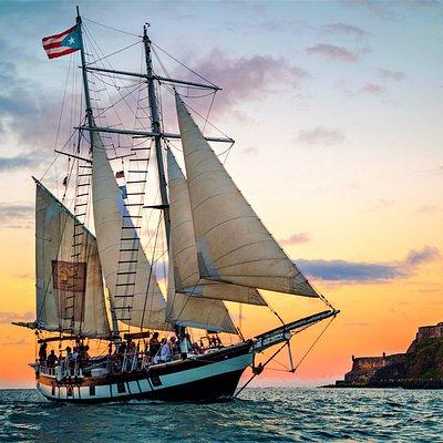 Top sail schooner Amazing Grace on San Juan bay Old San Juan